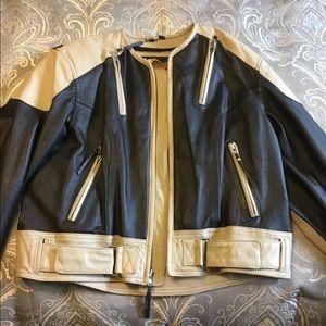 Black and cream Harley Davidson Leather Jacket